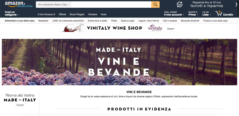 Amazon.it Made in Italy, Vini e bevande