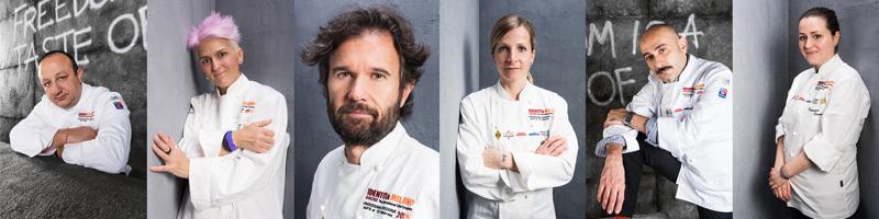 Giuria italiana S.Pellegrino Young Chef 2018: Cristina Bowerman, Caterina Ceraudo, Loretta Fanella, Anthony Genovese, Davide Oldani, Ciccio Sultano